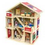 Puppenhaus aus Holz mit Figuren