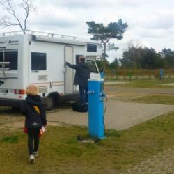 Unser Stellplatz auf dem Tropical Islands Campingplatz