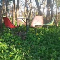 Sitzecke auf dem Campingplatz Loissin