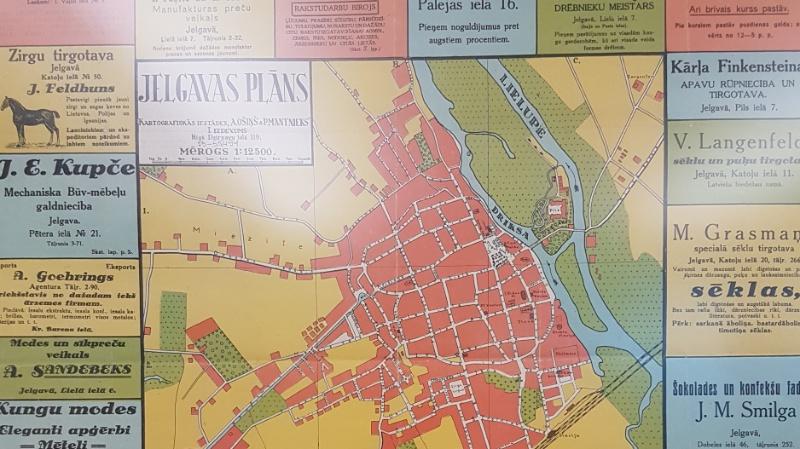 Riga auf einem alten Stadtplan in der Lettischen Nationalbibliothek