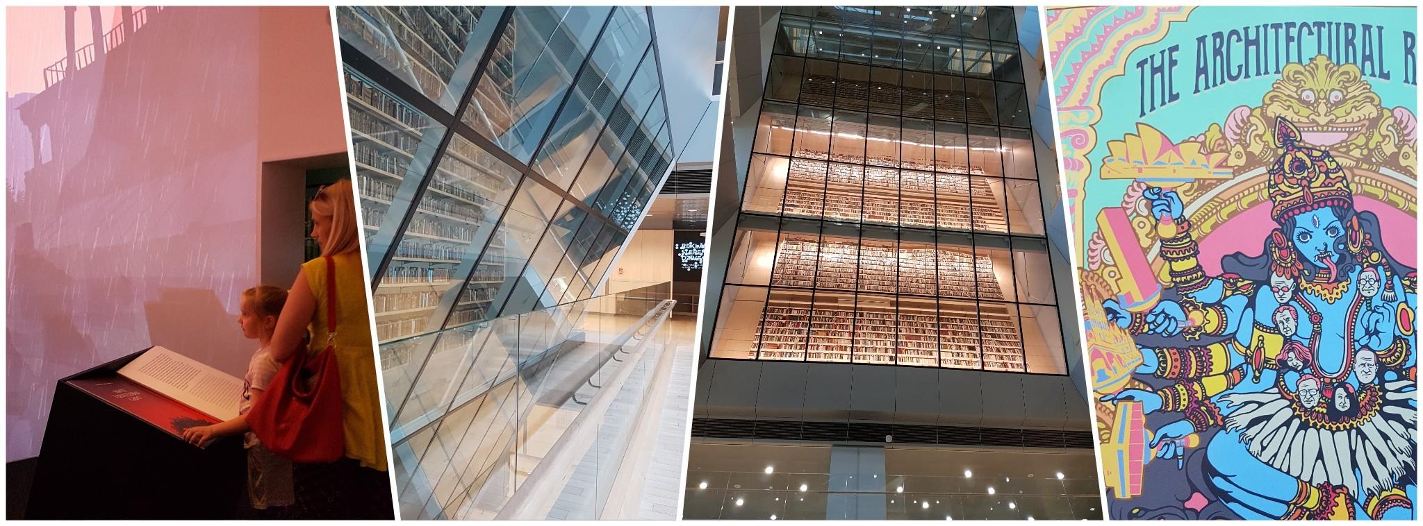 Ausstellungen und riesiges Bücherregal in der Lettischen Nationalbibliothek