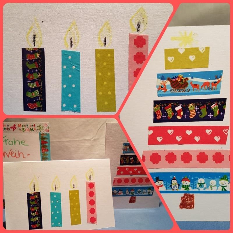 DIY Weihnachtskarten mit bunten Tapebändern gestalten