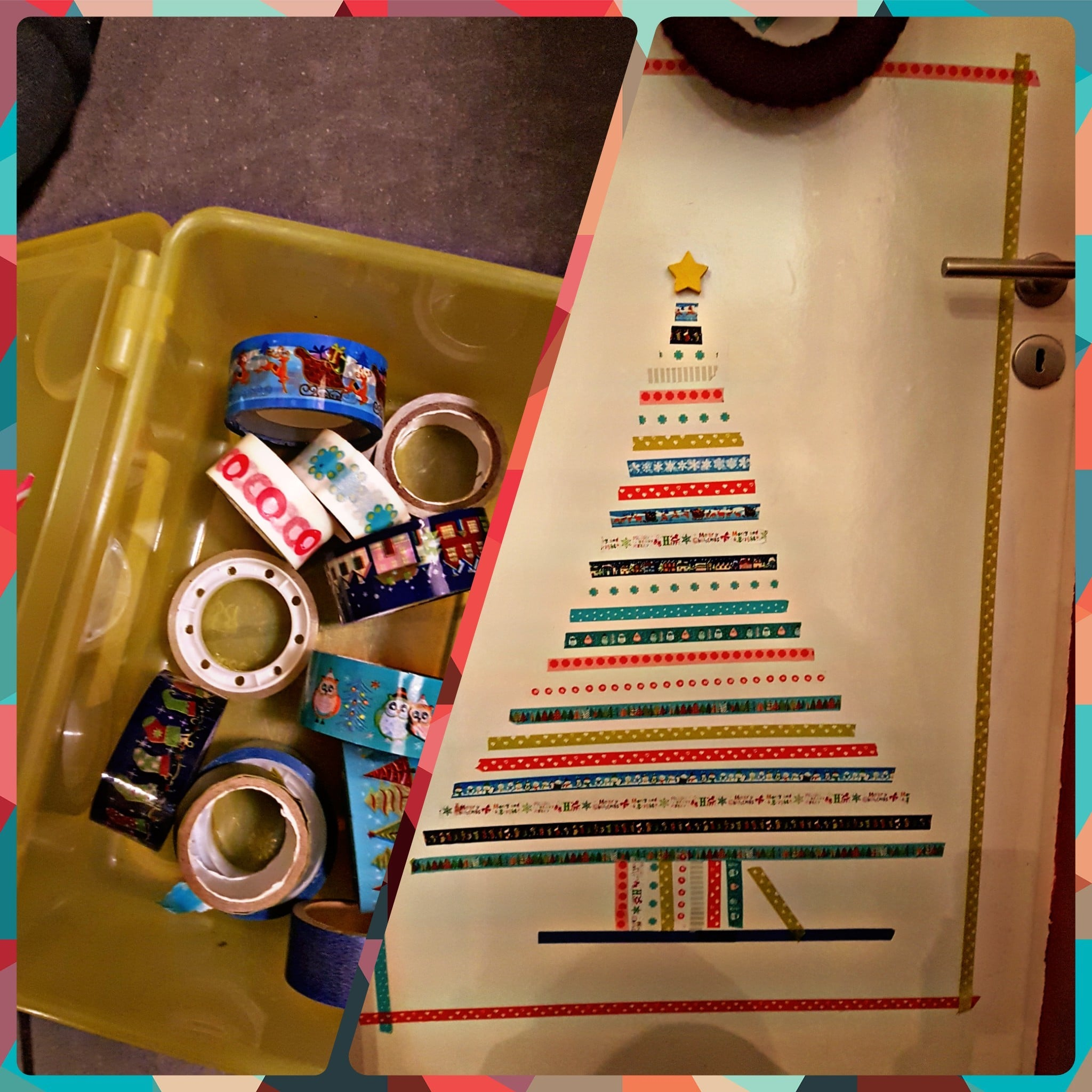 DIY Weihnachtsbaum aus bunten Klebestreifen Tapeband selbst gestalten