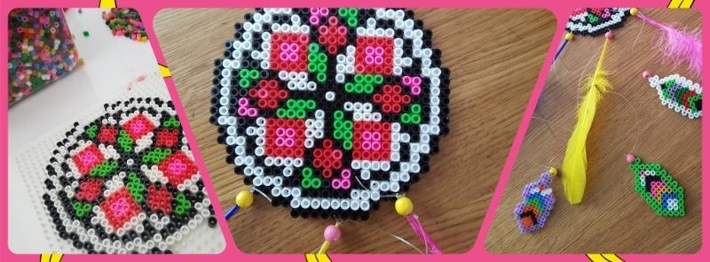 Kühlschrankmagnete, Mandala und Untersetzer aus Bügelperlen selbermachen, DIY, basteln mit Kindern, Deko für den Garten
