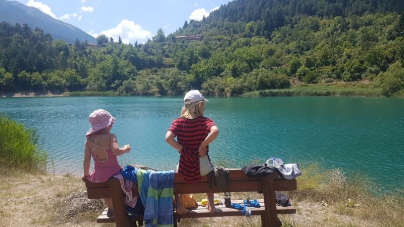 Peleponnes, Griechenland, Golf von Korinth, Campingplatz, Campen, Camping, Wohnmobil, Limni, Sommerurlaub, Urlaub, Reisen mit Kindern, Bergsee