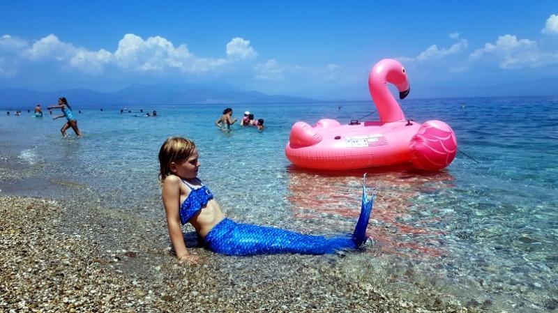 Peleponnes, Golf von Korinth, Meerjungfrau, Baden,Urlaub, Wohnmobil, Camping, campen, reisen mit Kindern, Ferien, Griechenland, Familienurlaub, Sommerurlaub, Meer