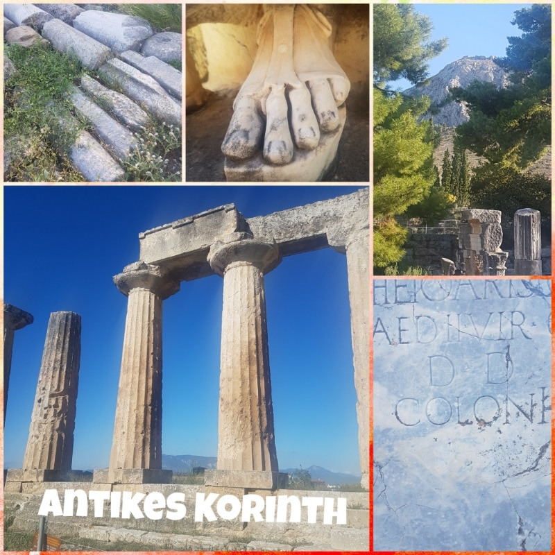 antikes Korinth, Peleponnes, Griechenland, Apollontempel